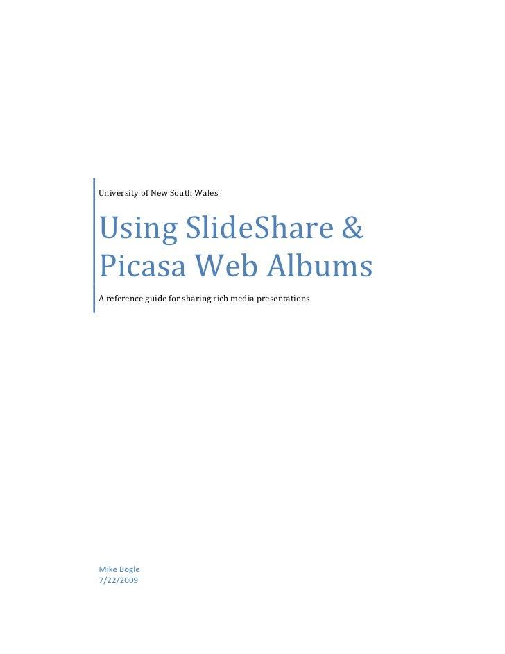 Using SlideShare And Picasa Web Albums