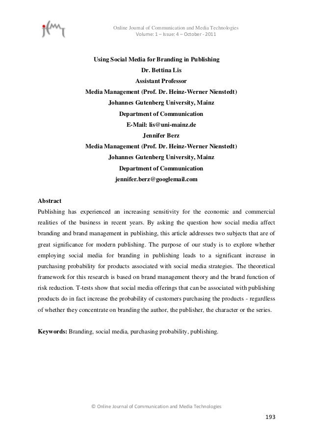 Online Journal of Communication and Media Technologies                                        Volume: 1 – Issue: 4 – Octob...