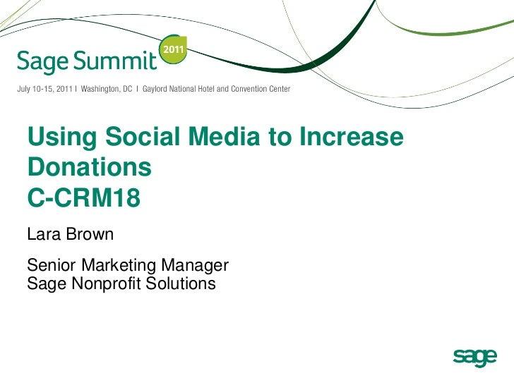 Using Social Media to Increase Donations