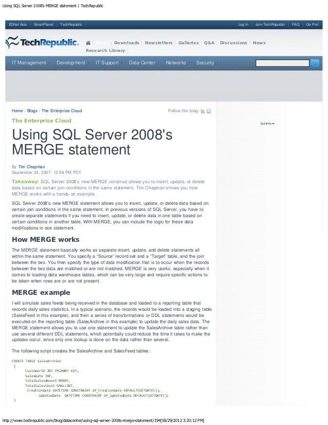 Using SQL Server 2008s MERGE statement | TechRepublic   ZDNet Asia   SmartPlanet    TechRepublic                          ...