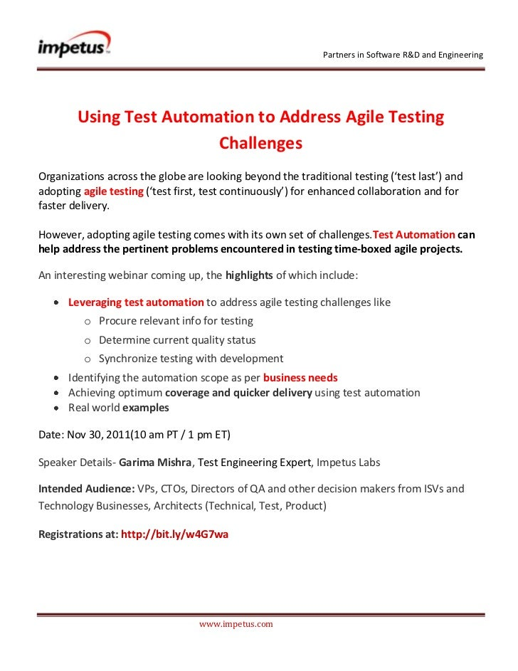 Partners in Software R&D and Engineering        Using Test Automation to Address Agile Testing                         Cha...