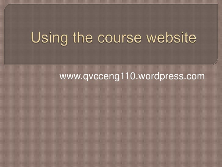 Using The Course Website