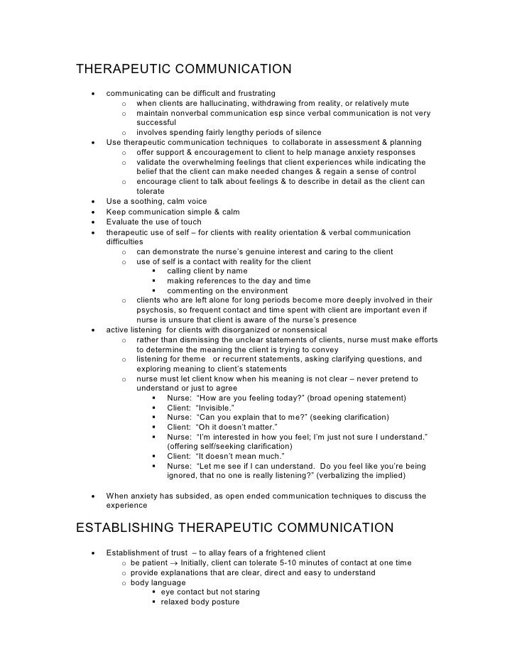 NurseReview.Org - Using Therapeutic Communication