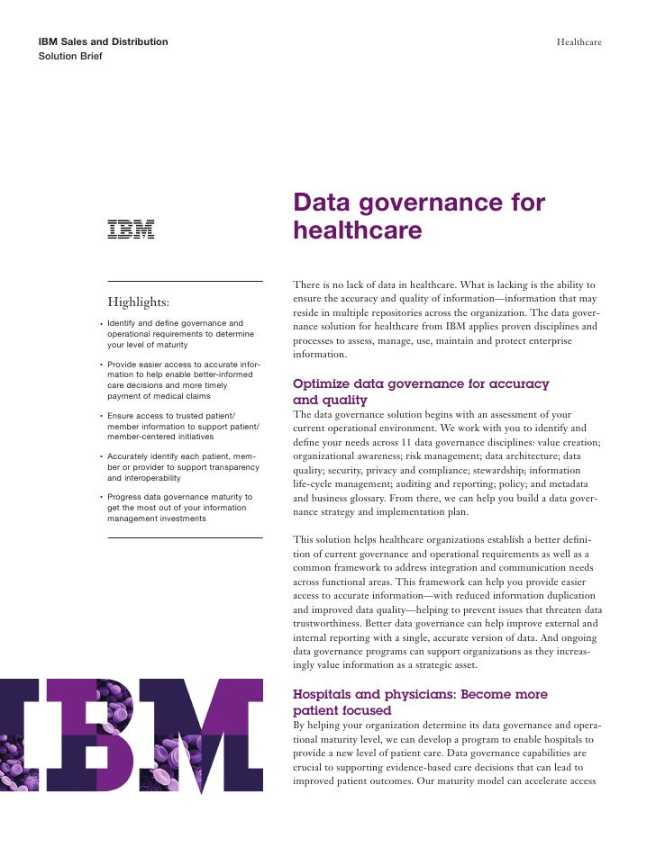 Using trusted information: Data Governance for Improved Healthcare