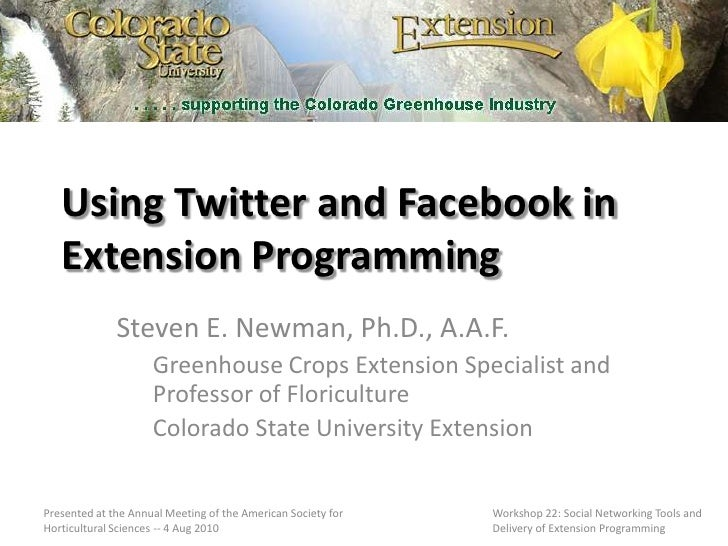 Using twitter and facebook in extension programming
