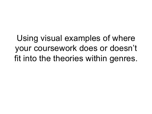 Using visual examples of whereyour coursework does or doesn'tfit into the theories within genres.