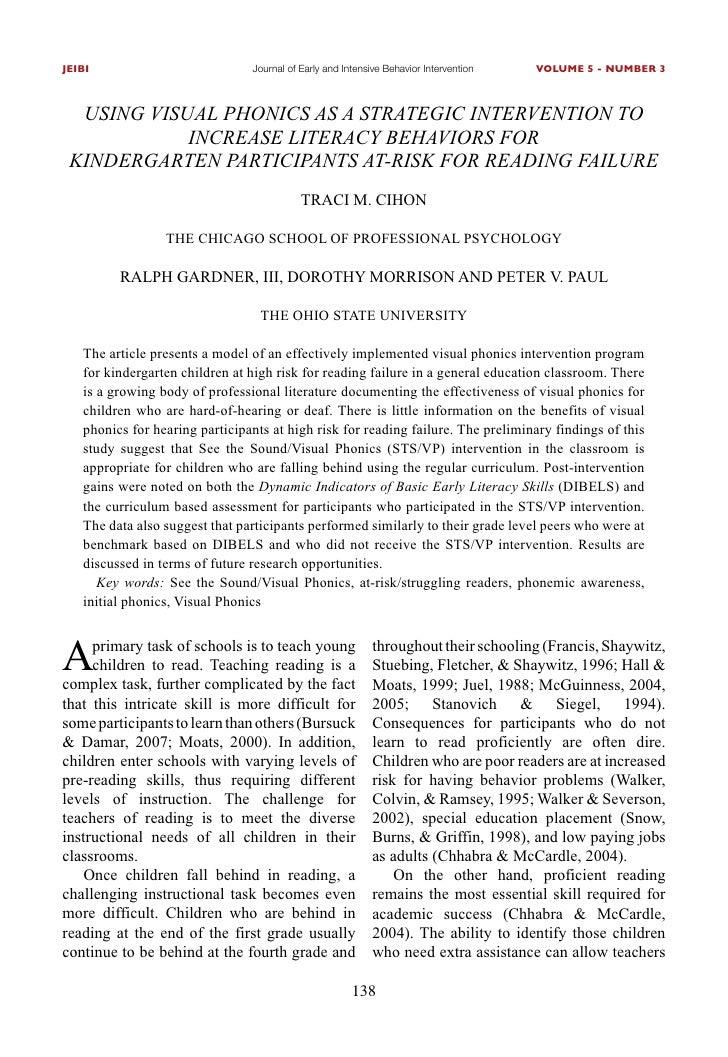 JEIBI                           Journal of Early and Intensive Behavior Intervention   VOLUME 5 - NUMBER 3      UsInG vIsU...