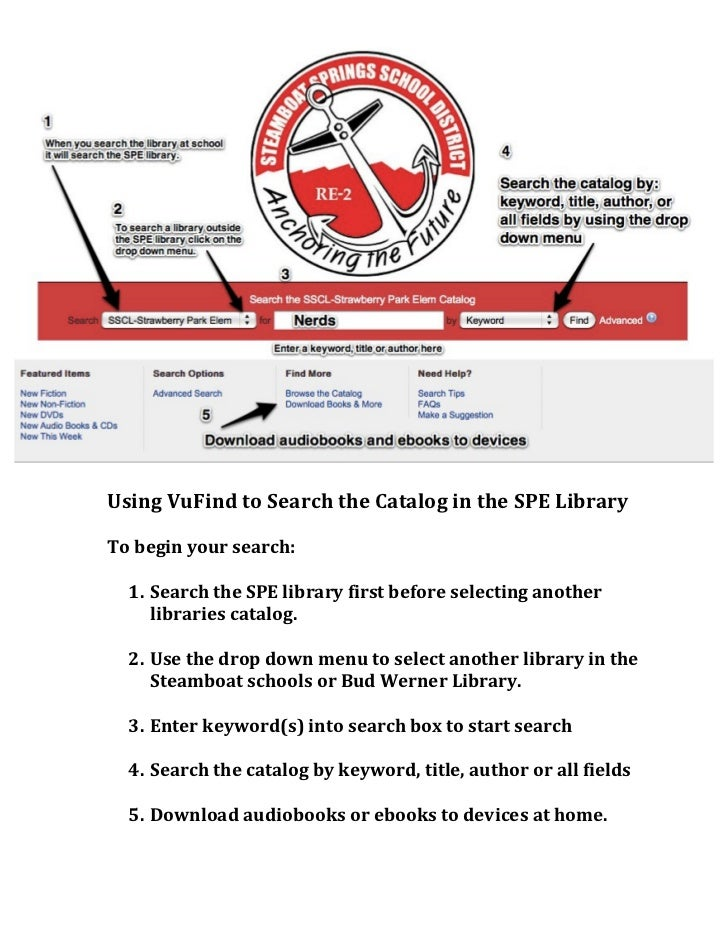 Using vu find to search the catalog in the spe library