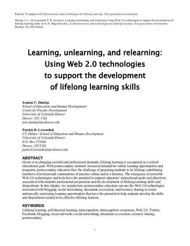 Preprint: To appear in E-infrastructures and technologies for lifelong learning: Next generation environments.Dunlap, J. C...