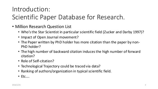 Scientific Subjects For Research Papers