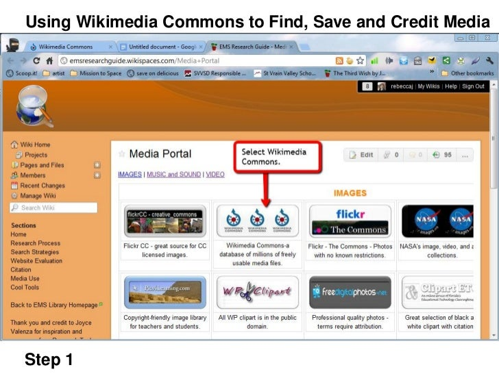 Using Wikimedia Commons to Find, Save and Credit MediaStep 1