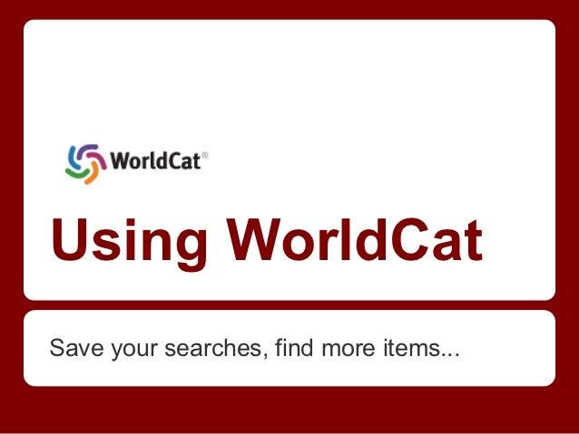 Using WorldCat
