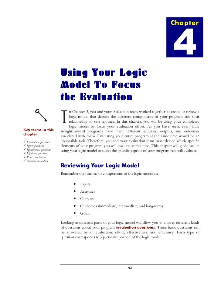 Using Your Logic Model to Focus Evaluation