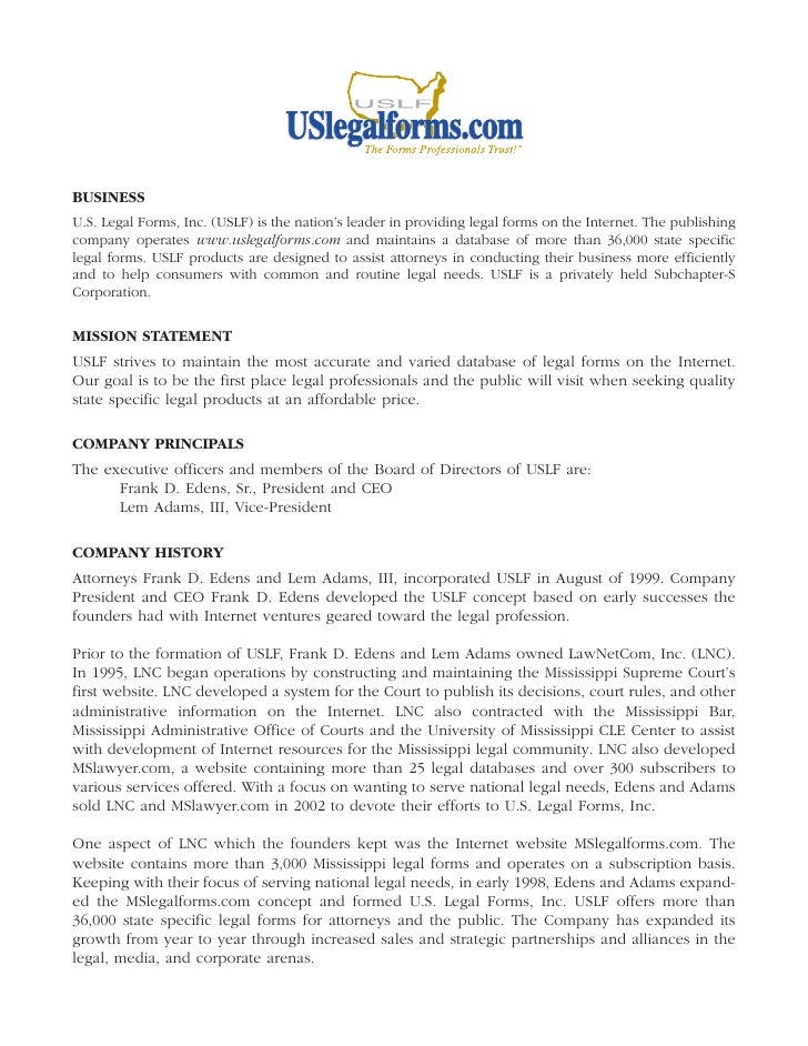 BUSINESS U.S. Legal Forms, Inc. (USLF) is the nation's leader in providing legal forms on the Internet. The publishing com...