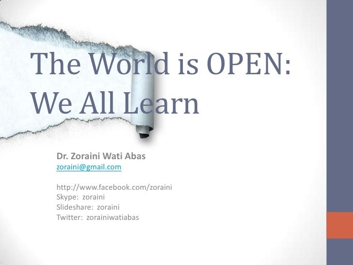 The World is Open:  We All Learn