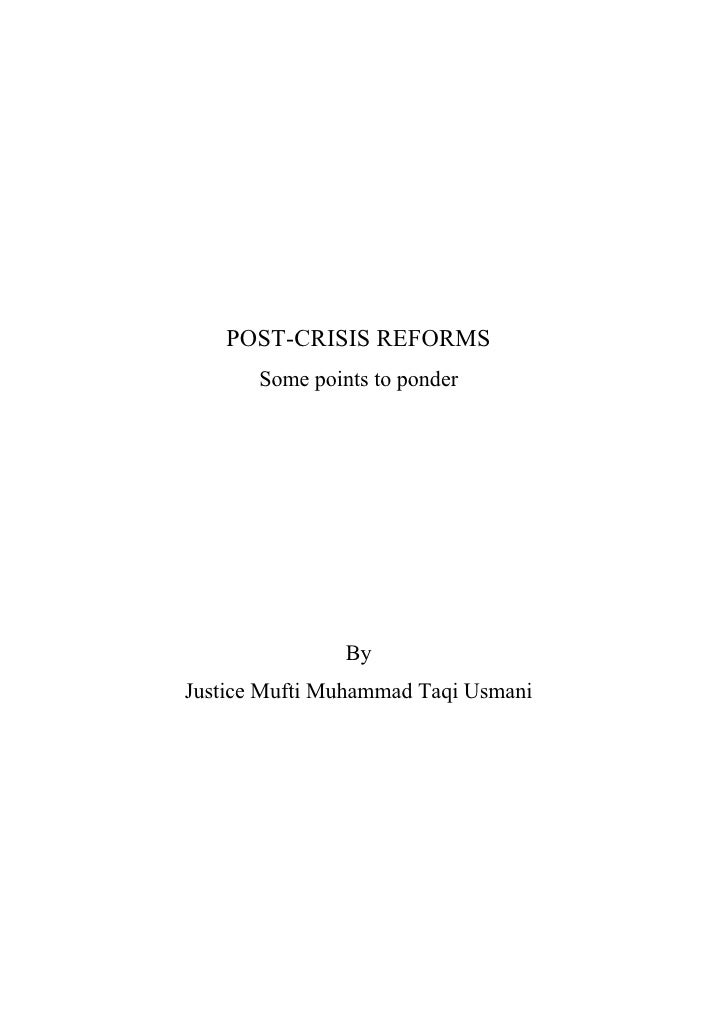 Post Financial Crisis Reforms