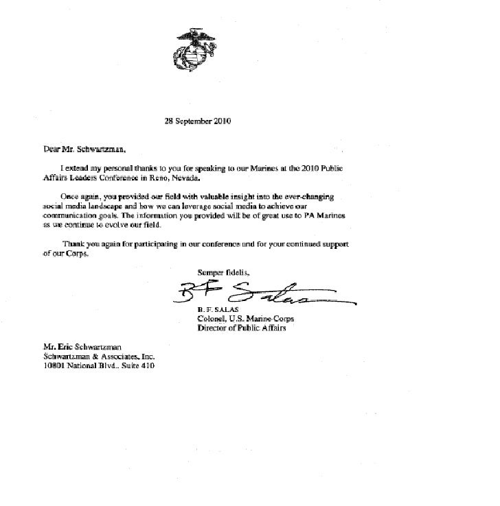 Letter from United States Marine Corps