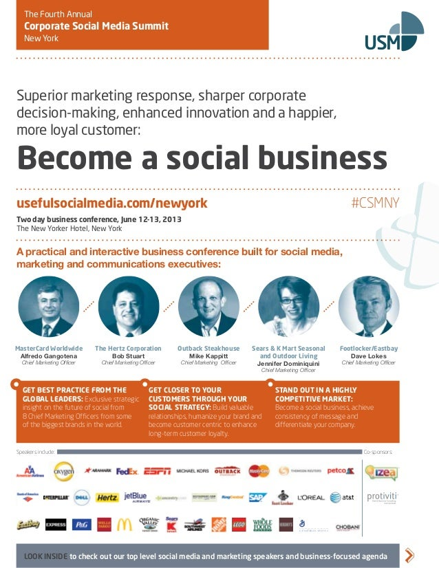 The Fourth Annual   Corporate Social Media Summit   New York                                                              ...