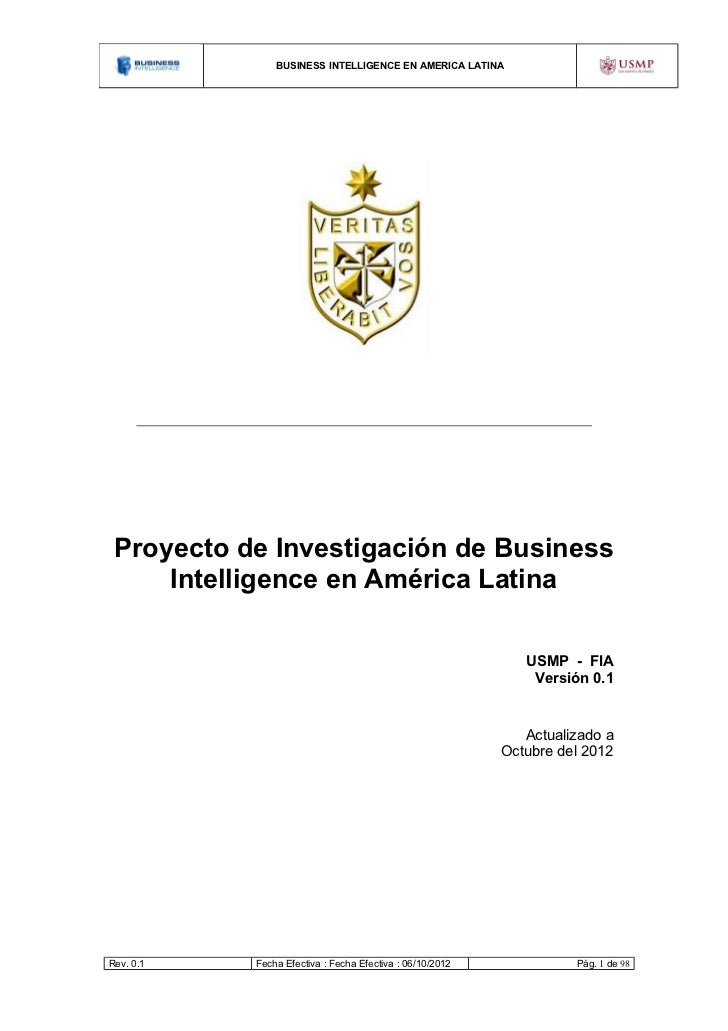 BUSINESS INTELLIGENCE EN AMERICA LATINA Proyecto de Investigación de Business     Intelligence en América Latina          ...