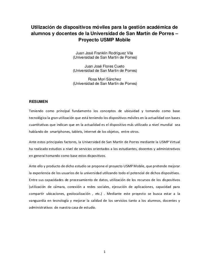 Utilización de dispositivos móviles para la gestión académica de alumnos y docentes de la Universidad de San Martín de Por...
