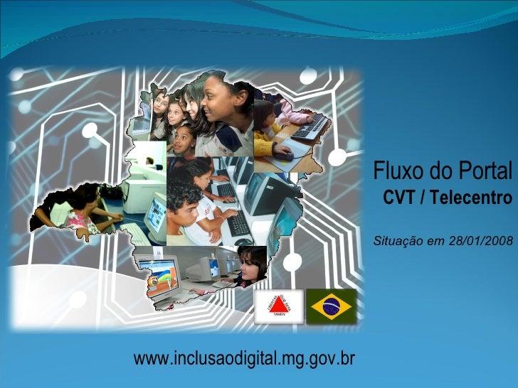 Fluxo do Portal CVT / Telecentro Situação em 28/01/2008 www.inclusaodigital.mg.gov.br