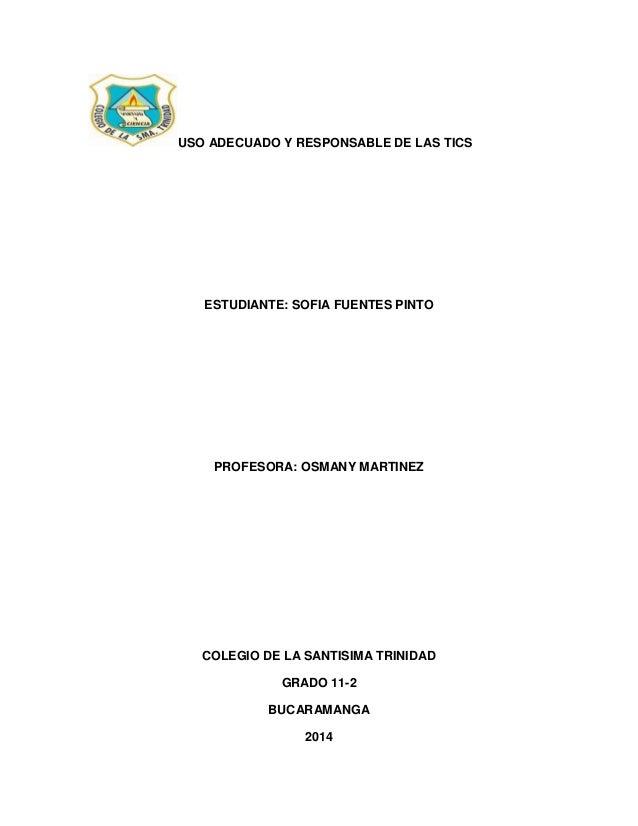 USO ADECUADO Y RESPONSABLE DE LAS TICS ESTUDIANTE: SOFIA FUENTES PINTO PROFESORA: OSMANY MARTINEZ COLEGIO DE LA SANTISIMA ...