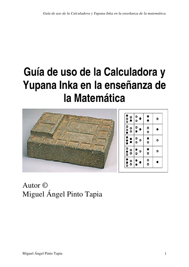 Uso de la calculadora y yupana innka miguel angel pinto tapia