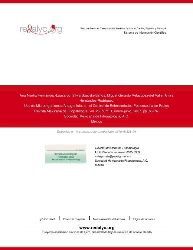 Uso de microorganismos antagonistas en el control de enfermedades postcosecha en frutos