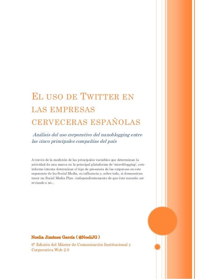 Uso de twitter en el sector cervecero español