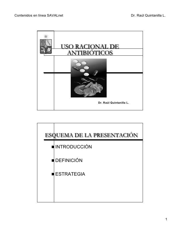 Contenidos en línea SAVALnet                                    Dr. Raúl Quintanilla L.                               USO ...
