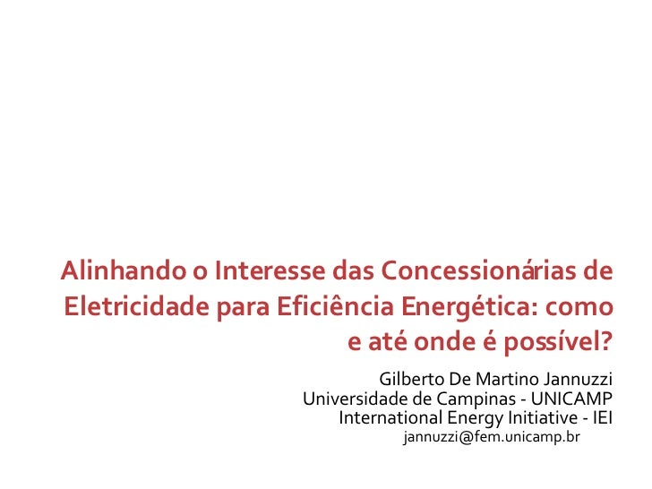 Gilberto De Martino Jannuzzi Universidade de Campinas - UNICAMP International Energy Initiative - IEI Alinhando o Interess...