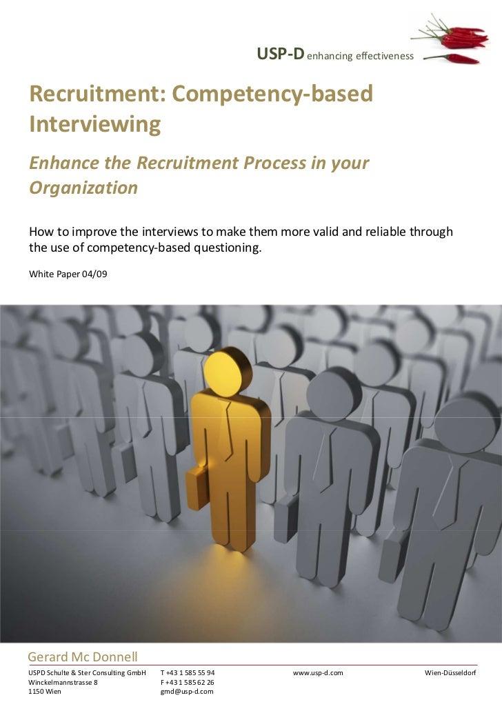USP-D enhancing effectivenessRecruitment: Competency-basedInterviewingEnhance the Recruitment Process in yourOrganizationH...