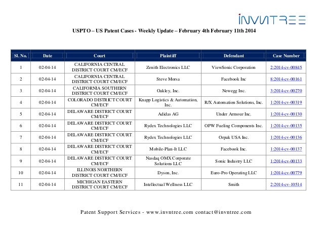 USPTO – US Patent Cases - Weekly Update – February 4th February 11th 2014  Sl. No.  Date  1  02-04-14  2  02-04-14  3  02-...