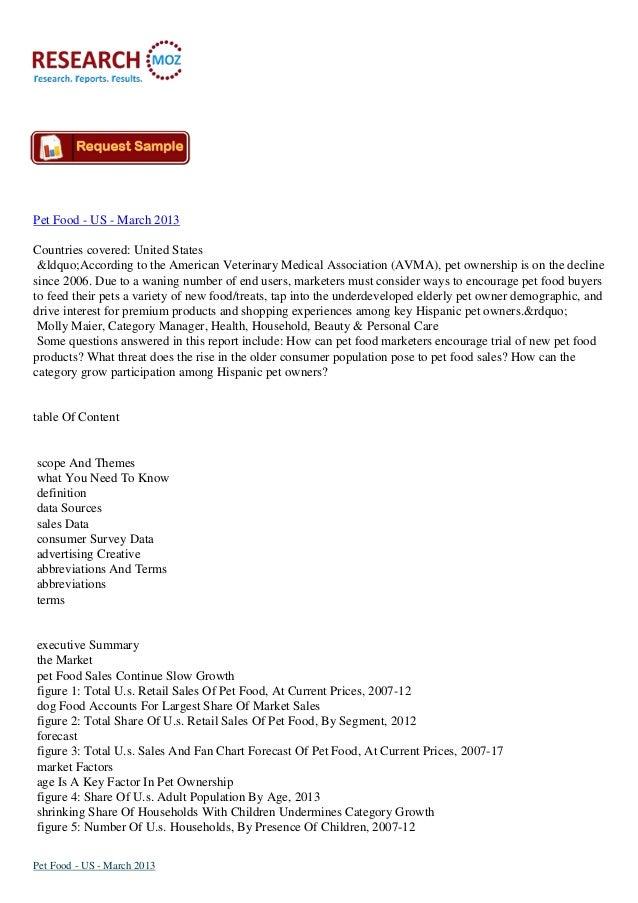 US Pet Food Market  March 2013