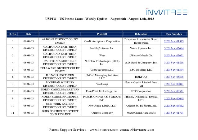 Patent Support Services - www.invntree.com contact@invntree.com USPTO – US Patent Cases - Weekly Update – August 6th - Aug...