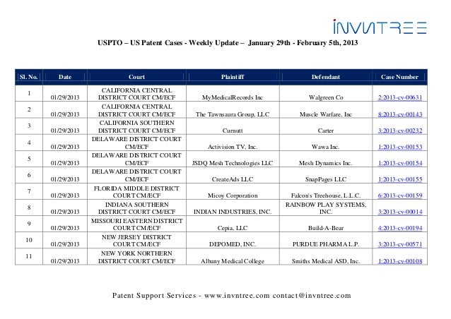 Uspto – us patent cases   weekly update - january 29th - february 5th, 2013