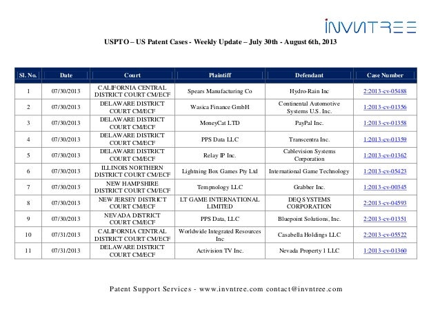 Patent Support Services - www.invntree.com contact@invntree.com USPTO – US Patent Cases - Weekly Update – July 30th - Augu...