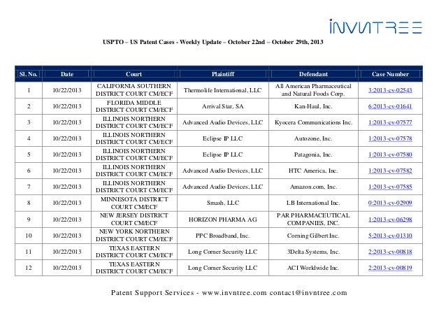Uspto – us patent cases   weekly update - october 22nd - october 29th, 2013