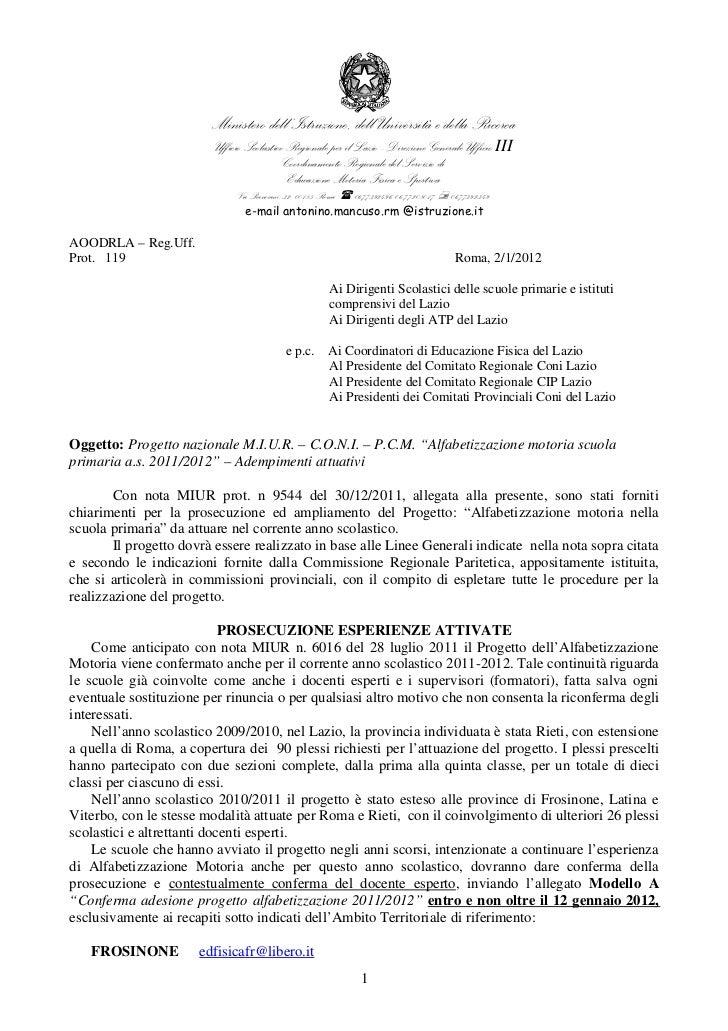 Ministero dell'Istruzione, dell'Università e della Ricerca                         Ufficio Scolastico Regionale per il Laz...