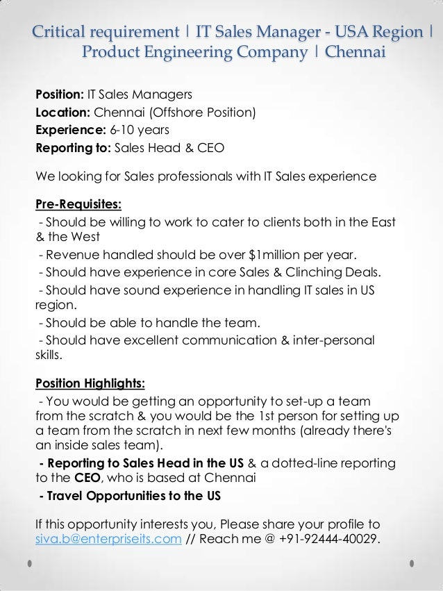Critical requirement | IT Sales Manager - USA Region | Product Engineering Company | Chennai Position: IT Sales Managers L...