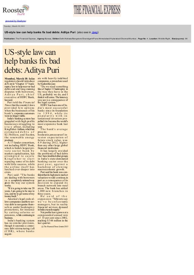 US style law can help banks fix bad debts - Interview of our MD, Mr. Aditya Puri