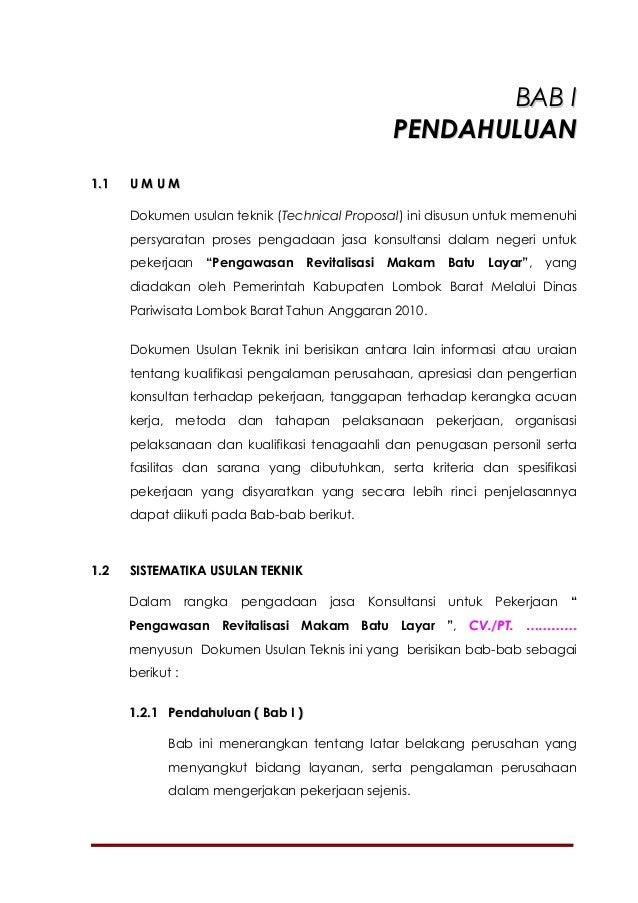 BAB I                                                   PENDAHULUAN1.1   UMUM      Dokumen usulan teknik (Technical Propos...