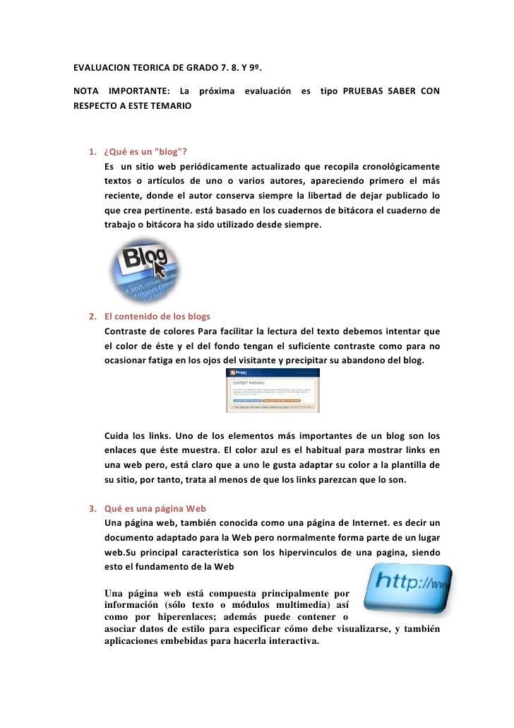 EVALUACION TEORICA DE GRADO 7. 8. Y 9º. <br />NOTA  IMPORTANTE:  La  próxima  evaluación  es  tipo PRUEBAS SABER CON RESPE...