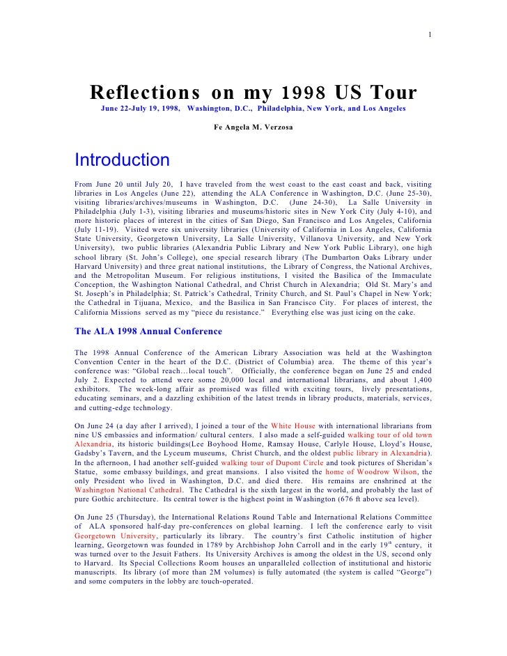 1         Reflections on my 1998 US Tour         June 22-July 19, 1998, Washington, D.C., Philadelphia, New York, and Los ...