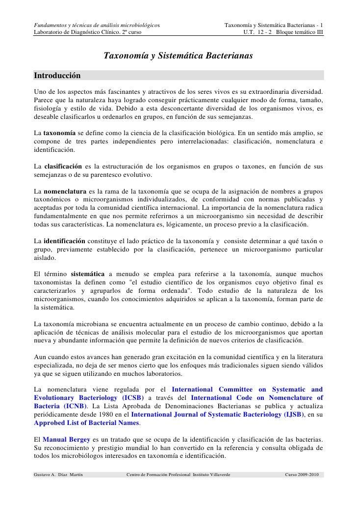 Fundamentos y técnicas de análisis microbiológicos                                   Taxonomía y Sistemática Bacterianas -...