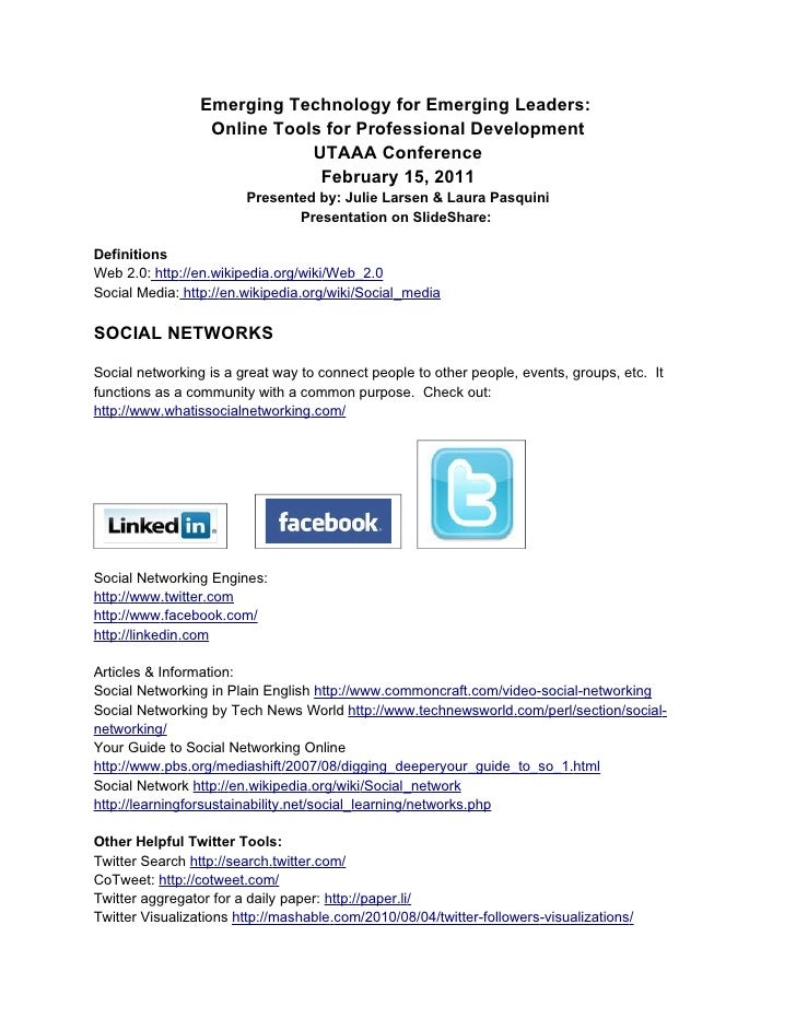 Emerging Technology for Emerging Leaders:                  Online Tools for Professional Development                      ...