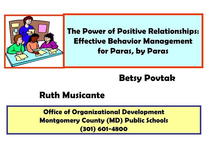 The Power of Positive Relationships: Effective Behavior Management for Paras, by Paras