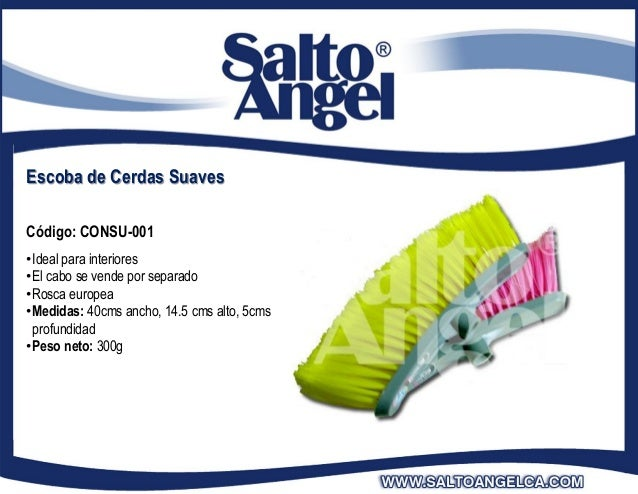Escoba de Cerdas SuavesCódigo: CONSU-001•Ideal para interiores•El cabo se vende por separado•Rosca europea•Medidas: 40cms ...