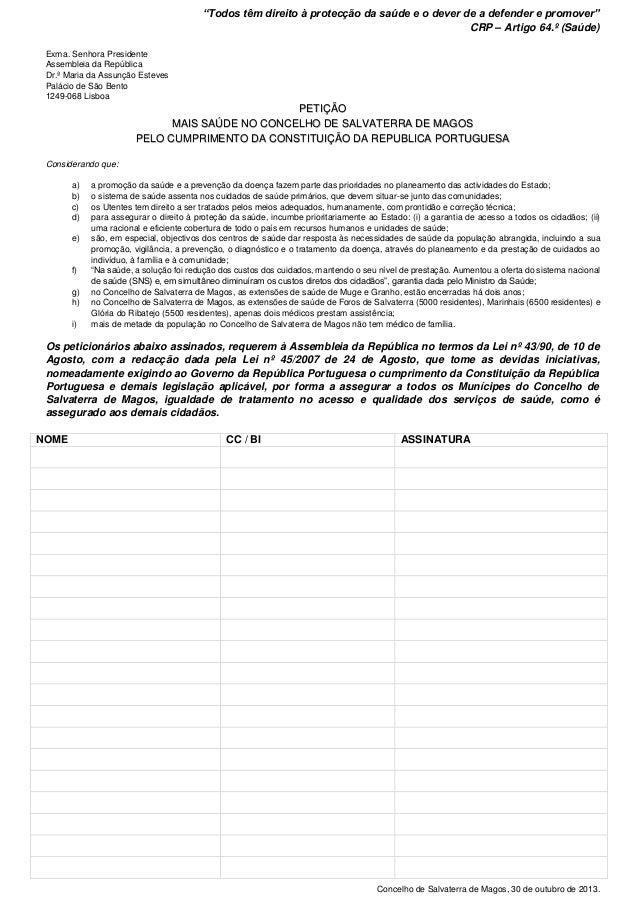 Petição - Mais Saúde no Concelho de Salvaterra de Magos