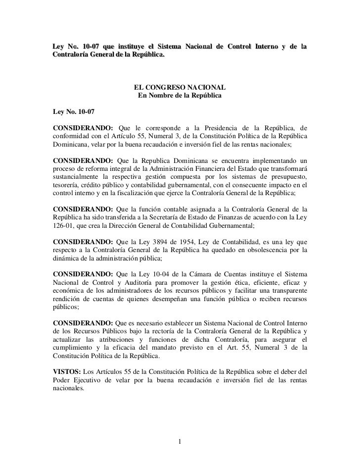 Utesa ley 10 07 contraloria  vfghj ley-10-07[1]